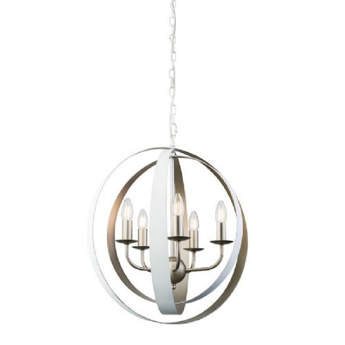 Matt white & vintage champagne paint Pendant Light 61067 by Endon
